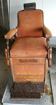 Antique Oak Koken Congress Barber Chair Suede Upholstery