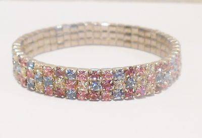 Bridal Bracelet Pastel Pink Blue Purple Clear Rhinestone Stretch Easter Wedding