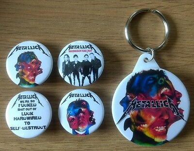 Metallica 25mm button badges set x4 & 45mm keyring Hard Wired