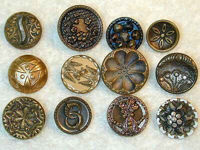 Antique Buttons 12 Waistcoat Brass Metal Picture Cut Steel Blue Steel Clluloid +