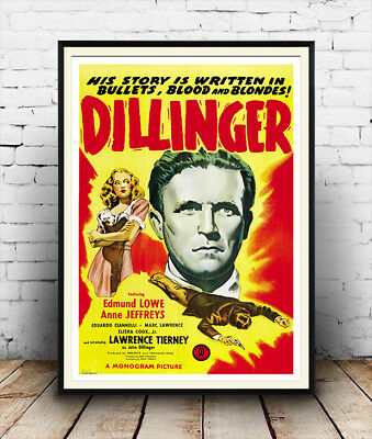Dillinger : Vintage Gangster Movie advert, Wall art , poster, Reproduction.