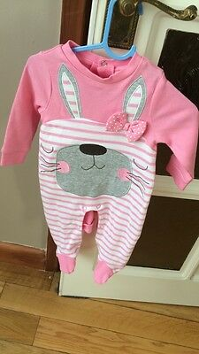 pink soft to touch sleepsuit/ babygrow 0-3 months