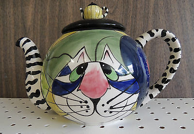 CAT TEAPOT Blue Sky CLAYWORKS Figurine SIGNED Hand Painted NOS