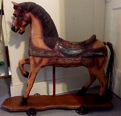 Antique Vtg Wood Horse Hand Carved Metal Wheels  Primitive Look Carousel Like