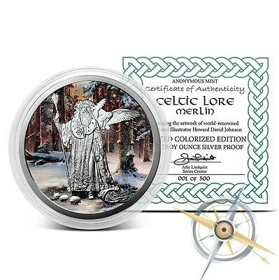 Celtic Lore Series - Merlin 5 oz .999 Silver Colorized Proof Round USA Made Coin