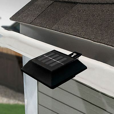 Solar Power Motion Sensor Black 6 LED Gutter Light Outdoor Wall Fence Garden