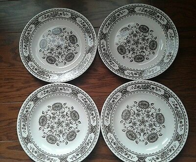 "Royal China Vendome Hampshire Brown White Patterned 10"" Dinner Plates Set of 4"