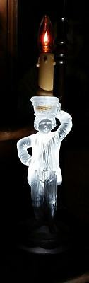 FRENCH ANTIQUE SAINT LOUIS crystal figural CANDLESTICK HOLDER servant