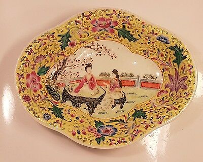 Antique Chinese Footed Dish Famille Rose