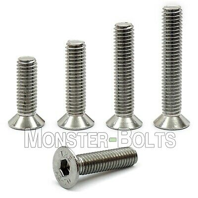 M6 - 1.00  Stainless Steel Flat Head Socket Caps Screws, DIN 7991 A2 Allen / Hex