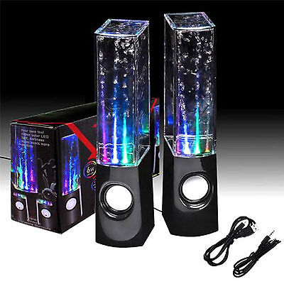 Black & White Stereo Music LED Water Dancing Fountain Light Speakers HOT SALE!!