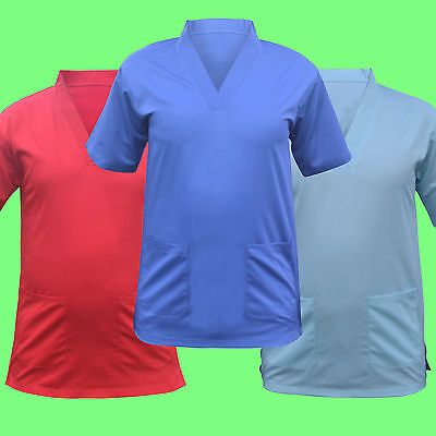 Scrub Medical Uniform Top Women Men Tunic Nurse Hospital Work Wear Medical Tops