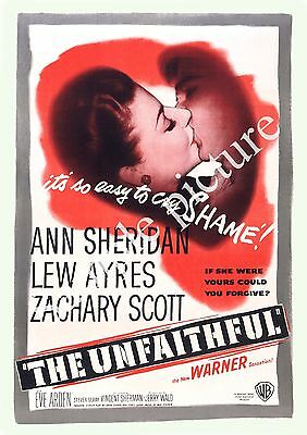 The Unfaithful : Vintage Movie advert, Wall art , poster, Reproduction.
