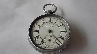 1897 chester solid silver arundel english lever open face pocket watch