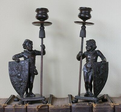 Antique 19th Century Bronze Candlesticks Whimsical Knights & Lion Shields