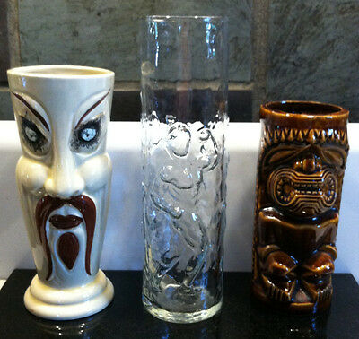 3 Different Older Styles of Tall Unique Barware Drinking Cocktail Glass