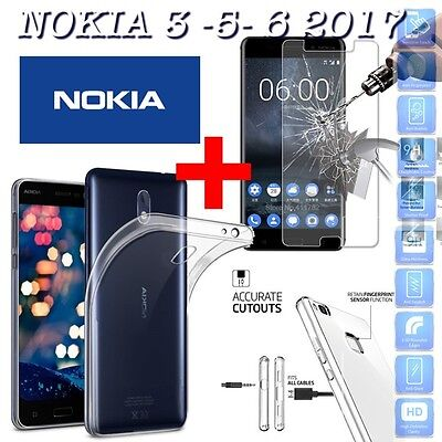 COVER CUSTODIA NATURE in TPU + PELLICOLA in VETRO TEMPERATO per NOKIA 3 5 6 2017
