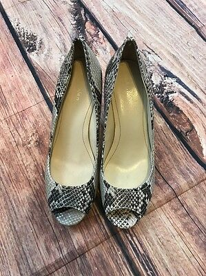CALVIN KLEIN Kail Snake Skin Leather Pumps Brown Peep Toe Heels 8M