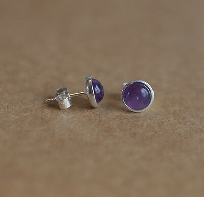 925 Sterling silver stud earrings with natural Amethyst gemstones