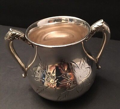 Sugar Bowl Westminster XXXX Heavy Silver Plate C.M.C. Engraved Flowers