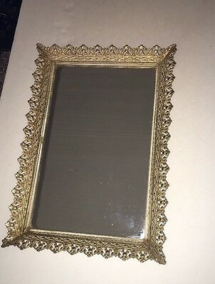 "Floral Vanity Tray Mirror Footed Brass / Ormolu Gold Gilt Antique / Vintage 16""L"
