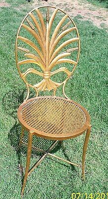 Vintage Mid Century Hollywood Regency Gold Wheat Chair- Made In Italy