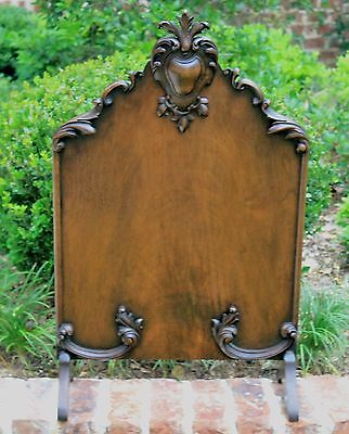 Antique French Mahogany Victorian Rococo Revival Fireplace Fire Screen Hearth