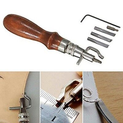 5 in1Edge Stitching Groover Creaser Beveller Punch Sewing Leathercraft Tools Kit