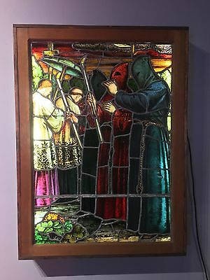 Antique Stained Glass Church Window c.1905