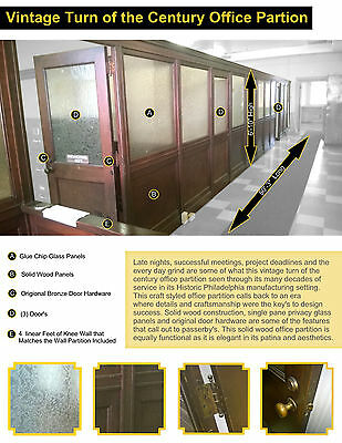 Vintage Craft Style Wood & Glass Office Partition 50' LONG Architectural Salvage
