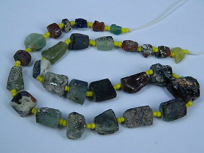 Ancient Fragment Glass Beads Strand Roman 200 BC No Reserve #BE1332