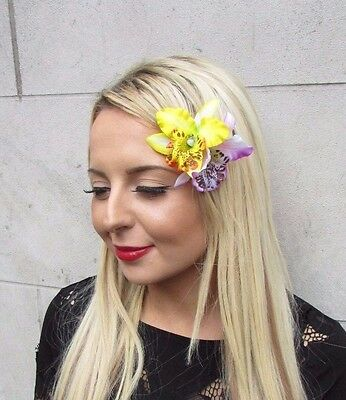 Double Yellow White Purple Orchid Flower Hair Clip Rockabilly Fascinator 3401