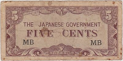 (N5-15) 1940s Japan invasion money 5 cents bank note (N)