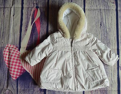 Burberry Baby Girls Designer Romany Pink Coat 3 Months Fur Trim 3-6 Months VGC