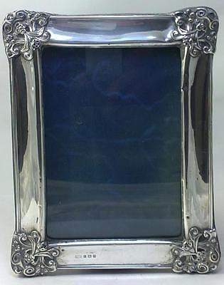 """Antique Art Nouveau hallmarked Sterling Silver-fronted 7"""" x 5"""" Photo Frame –1907"""