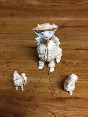 Vintage Wales 3 White Poodle Spaghetti Figurines Made In Japan Porcelain