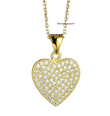 Love Heart Necklace Real 925 Silver Rose Gold Yellow Plated Gifts Engagement