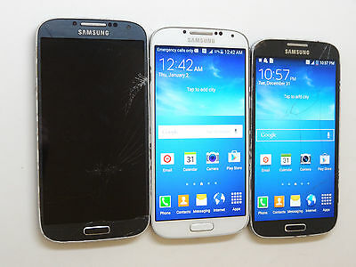 Lot of 3 Samsung Galaxy S4 SGH-I337 AT&T Smartphones 2 Power On AS-IS GSM *