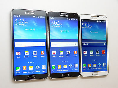 Lot of 3 Samsung Galaxy Note 3 SM-N900A AT&T Smartphones PowersOn Good LCD AS-IS