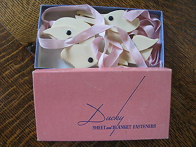 Vintage Baby Ducky Sheet and Blanket Fasteners 1940's Pink in Box