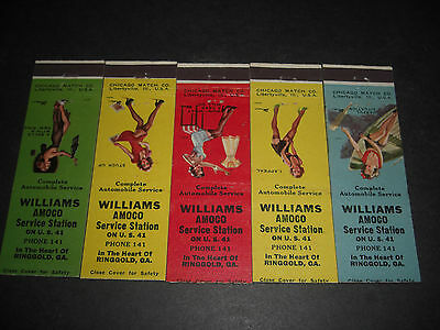 Pin-Up 1949 Williams AMOCO Service Station Matchbook Covers Set of 5