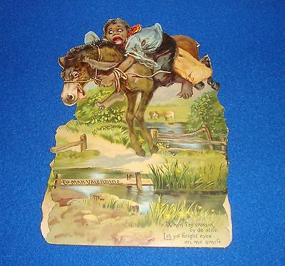 Vintage Black Americana Mechanical Valentine Card Raphael Tuck 1909