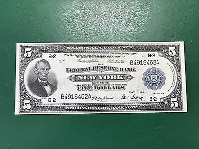 Scarce $5 1918 THE FEDERAL RESERVE BANK New York