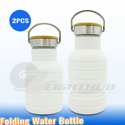 2x Collapsible Silicone Folding Hiking Water Bottle Outdoor Yoga Camping Kettle