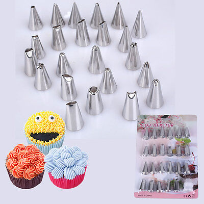 12/24PCS DIY Steel Icing Piping Nozzles Tips Cake Decorating Pastry Baking Tool