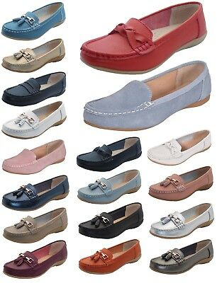 Women Leather Flat Loafer Ladies Casual Slider Low Wedge Work Moccasins Shoes