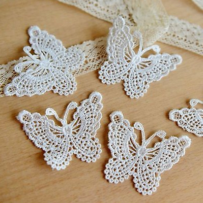 Fashion White Butterfly Lace Edge Trim Ribbon Applique Sewing Wedding Craft cn