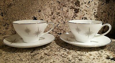 NORITAKE china PRESTON 6509 CUP and SAUCER Set of 2 each