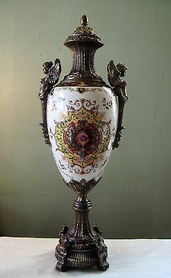 Antique Large Bronze Porcelain Urn Vase w/ Lid