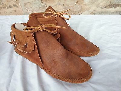 MINNETONKA FRINGE SUEDE BROWN ANKLE BOOTS BOOTIES 7  Shoes WOMENS 482 MOCCASINS